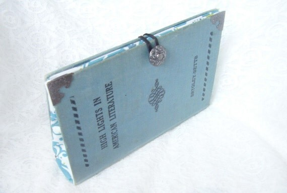 Light Blue Book Clutch, Literature Clutch, Periwinkle with ornate black cover and silver ornate corner plates and button, FREE SHIPPING