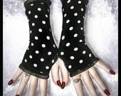 Suburban Relapse Black with Cream Polka Dots Fingerless Glove Short Arm Warmers for Lolita, Gothic, Chic, Steampunk, Victorian, 1940s, Vamp, Punk, 8o's Goth, Boho, Retro, Pin Up, Sweet Style