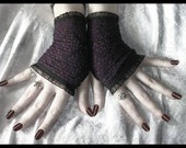 Low Room Lace Fingerless Gloves Arm Warmers in Plum Purple with Diamond Mesh and Black Organza Ruffle for Gothic, Vampire, Noir, Tribal Fusion Bellydance, Belly Dance, Steampunk, Lolita, Dark Evening, Elegant, Victorian, Boho Styles