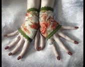 St. Gemma's Garden Lace Fingerless Gloves Arm Warmers in Cream, Orange, Golden Tan and Sage for Chic, Bohemian, Steampunk, Hippie, Belly Dance, Victorian, Lolita, Wedding, Tribal, Sweet Styles