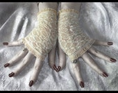 Spirit Softly Lace Fingerless Gloves Arm Warmers in Warm Soft Ivory with Stunning Diamond Lattice, Roses and Sheer Fishnet for Gothic, Victorian, Vampire, Regency, Tribal Fusion, Belly Dance, Steampunk, Wedding, Romantic, Bohemian Styles