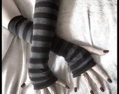 Dusk And Her Embrace Long Arm Warmers in Dark Charcoal Grey and Black Stripes for Gothic, Belly Dance, Tribal, Steampunk, Chic, Classic, Noir, Bohemian, SCA, Earth, Yoga, Light Styles