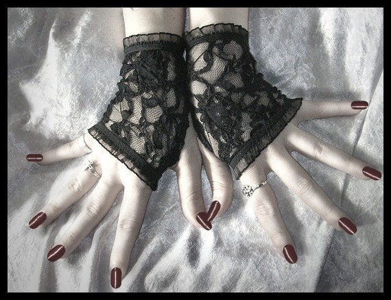 Of Lillies and Remains Lace Fingerless Glove Arm Warmers in Black Floral and Diamond for Steampunk, Noir, 80's, Gothic, Belly Dance, Tribal Fusion, Lolita, Wedding, Victorian, Carnival Styles