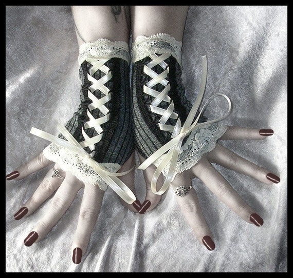 Vision of Veronica Victorian Fingerless Gloves Corset Laced Up Arm Warmers in Elegant Dark Grey with Black Pinstripes and Ivory Lace for Vampire, Noir, Gothic, Steampunk, Wedding, Belly Dance, Fusion, Chic, Boho Styles