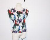 clearance - 80s paint splatter shirt . primary colors top  . xs/s/m . at montanasnowvintage