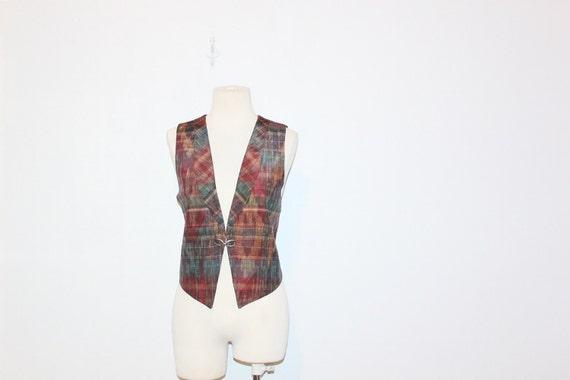 vintage 80s plaid western cowgirl  vest top ( xs - s ) at montanasnowvintage