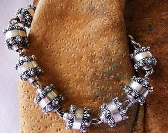 Vintage Mexican sterling silver Etruscan beads bracelet   1940s Mexican silver   Frida style