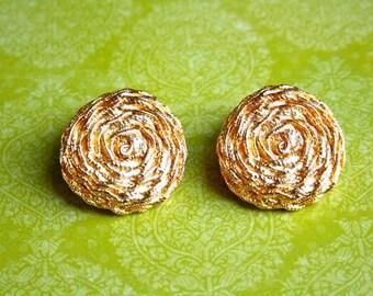 CLEARANCE! Gold tone swirl clip earrings