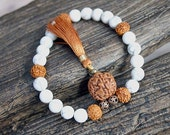 27 Beads Yoga Mala Bracelet Howlite And Rudraksha Beads Stretch Power Meditaion Beads