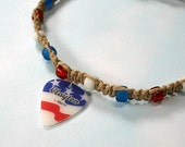 Hemp Necklace with American Freedom Guitar Pick