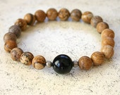 Protection Black Onyx Stretch Energy Bracelet Picture Jasper