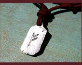 Leather Surfer Necklace With Ancient Rune FEHU WEALTH Distresed Cord