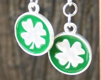 St Patrick's Day Clover Drop Fishhook Earrings