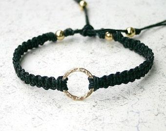 Karma Friendship Bracelet Gold Dipped On Black Hemp