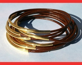 Leather Bangles Bracelets Brown Leather and Gold or Silver Metal Tubes