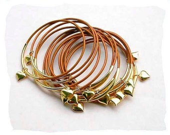 Leather Bangles Bronze with Gold-Plated Hearts