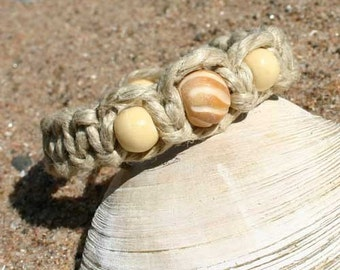 Surfer Phatty Thick Hemp Bracelet Or Anklet With Bone Beads
