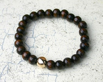 Wood Friendship Bracelet With 14K Gold Filled Bead Stretch