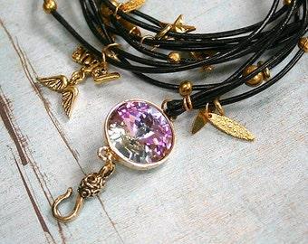 Black Leather Wrap Bracelet with Swarovski Stone and Charms