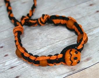 Halloween Orange Black Hemp Flat Bracelet With Glass Pumpkin