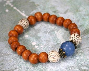 Yoga Mala Bracelet Palm Wood And Lapis Blue Howlite