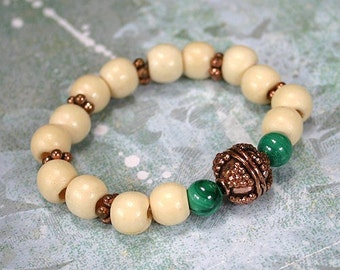 Yoga Mala Bracelet Wood Copper and Malachite Beads