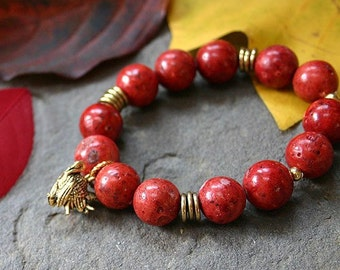 FREE SHIPPING Thanksgiving Bracelet Red Coral Stretch and Turkey Charm