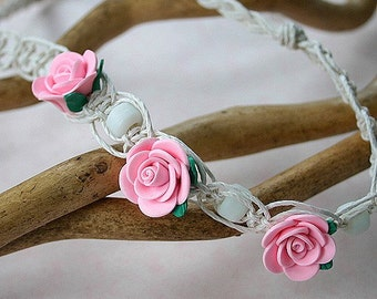 White Fishbone Hemp Necklace With Pink Polyclay Flowers and White Glass Beads