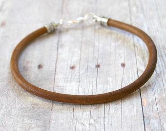 Men's Thick Bracelet 4mm Light Brown Round Leather Surfer Surf Wrap, Mens Bracelet, Mens Jewelry
