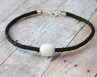 White Agate and Sterling Silver Bead Leather Bracelet