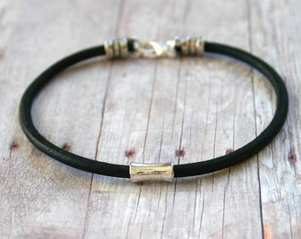 Men's Bracelet 3mm Black Leather Silver Tube Bead