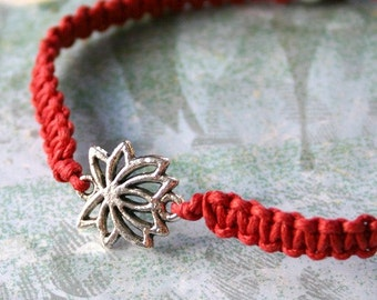 Silver Lotus Friendship Red Cotton Bracelet