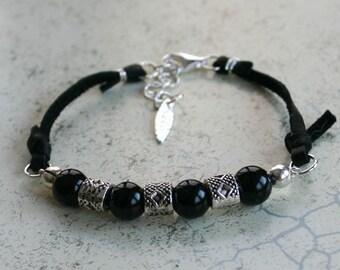Gemstone Beaded Bracelet Onyx And Black Leather