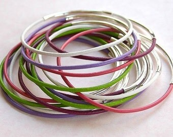 ON SALE Mixed Color Leather Bangles Silver -30 bracelets