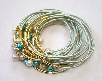 Shell Leather Bangles with Colored Pearls