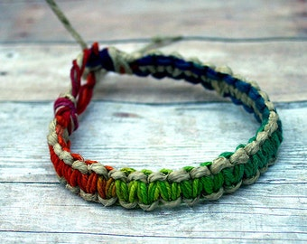 Surfer Macrame Hemp Bracelet Rainbow and Natural, Natural Woven Knot Friendship Bracelets