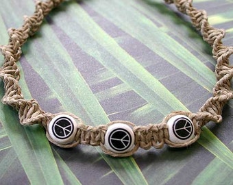 Hemp Necklace With Peace Sign Ceramic Beads