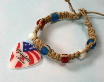 Hemp Bracelet with American Freedom Guitar Pick