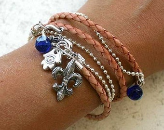 Evil Eye Protection Leather And Chain Bracelet With Fleur-de-lis And Hamsa
