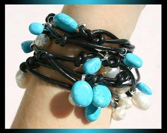 Moonlight Pearl Leather Wrap Bracelet - Black Leather White Pearls Turquoise Nuggets