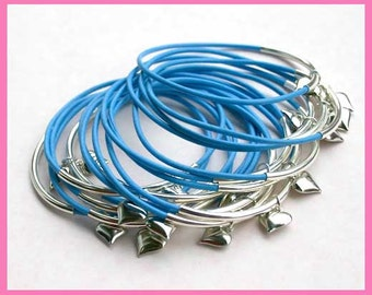 10 Leather Bangles Bracelets Sky Blue Leather Hearts  - FREE SHIPPING