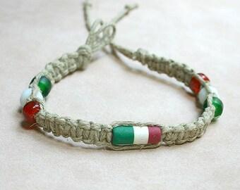 Surfer Hemp Bracelet with Italian Flag -ITALY