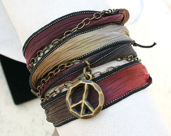 Hand Dyed Silk Ribbon Wrap Bracelet Brass Chain - Navajo Trail Peace Sign Lucky Coin Charms