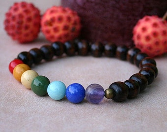 7 Chakras Basic Yoga Bracelet Energy Power Gemstone Brown Wood Stretch
