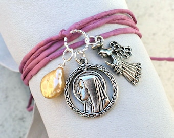 Dusty Rose Silk Ribbon Wrap Bracelet With St Mary Angel and Pearl Charms
