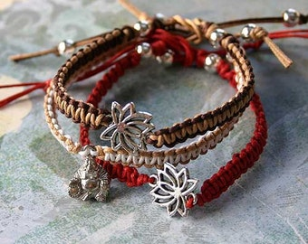 Lotus Yoga Friendship Bracelet Silver Buddha Charm On Cotton Cord