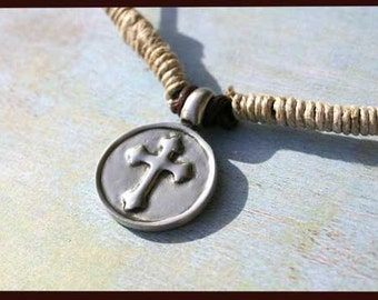 Leather Hemp Surfer Necklace With Round Shild Cross Distresed Cord