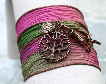 Silk Ribbon Wrap Bracelet Hand Dyed Secret Garden Copper Trre of Life Ohm Om, Twig Yoga Jewelry