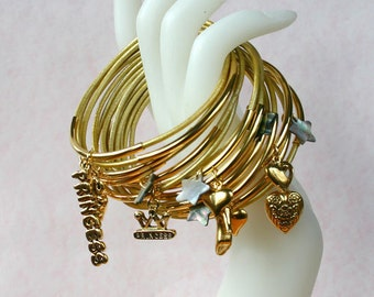 Leather Bangles Bracelets Gold Leather and Gold Metal Tubes Princess Charms