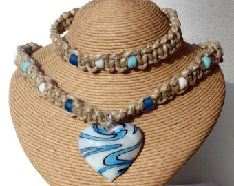 Surfer Set Phatty Thick Hemp Necklace With Glass Heart Choker and Bracelet
